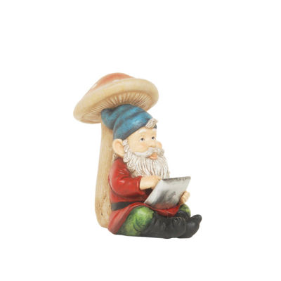 """10"""" High Tech Gnome with Tablet Solar Powered LEDLighted Outdoor Patio Garden Statue"""""""