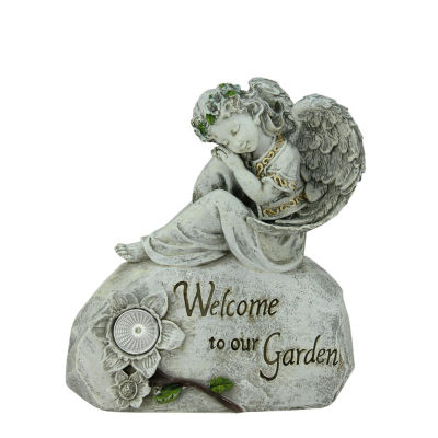 """10"""" Religious Peaceful Angel """"Welcome To Our Garden"""" Solar Powered Outdoor Patio Statue"""""""