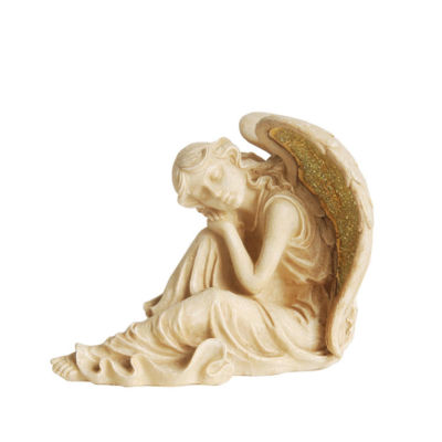 "12"" Distressed Ivory & Golden Mosaic Glass Winged Religious Resting Angel Outdoor Patio Garden Statue"