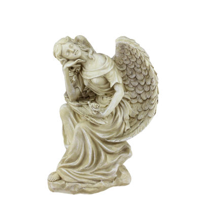 """12"""" Heavenly Gardens Distressed Almond Brown Daydreaming Angel with Rose Outdoor Patio Garden Statue"""""""