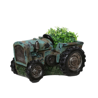 "12.25"" Distressed Teal & Black Tractor Outdoor Garden Patio Planter"""