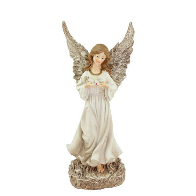 """12.5"""" Heavenly Gardens Glittered Ivory & ChampagneGold Serene Angel w/ Dove Outdoor Patio Garden Statue"""""""