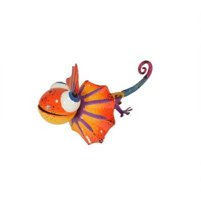"13"" Vibrant Multi-Color Frill-Necked Lizard Outdoor Garden Figure"