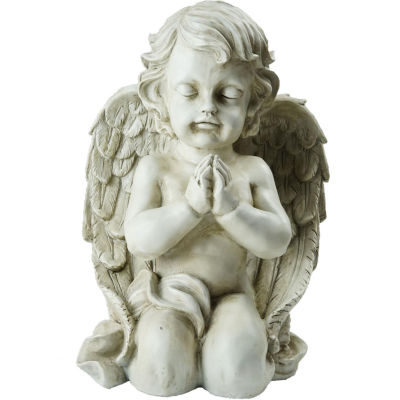 "13.5"" Kneeling Praying Cherub Angel Religious Outdoor Garden Statue"""