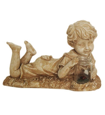 "14"" Distressed Almond Brown Lounging Boy Solar Powered LED Lighted Outdoor Patio Garden Statue"""