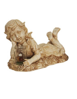 """14"""" Distressed Almond Brown Lounging Girl Solar Powered LED Lighted Outdoor Patio Garden Statue"""""""