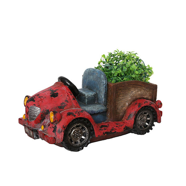 "14.5"" Distressed Red Vintage Car LED Lighted SolarPowered Outdoor Garden Patio Planter"""