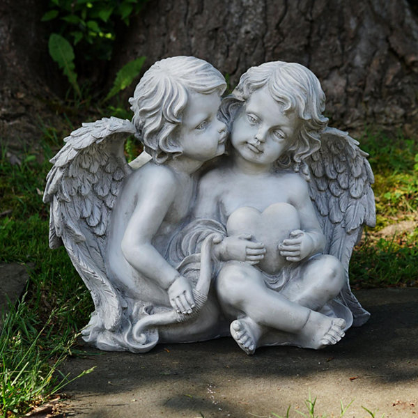 "16.25"" Sitting Cherub Angels Holding a Heart and Bow Outdoor Garden Statue"""