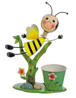 "17"" Bee Flying Over Flowers Decorative Spring Outdoor Garden Planter"""