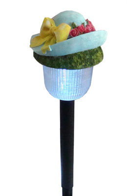 "17"" LED Lighted Solar Powered Outdoor Blue Rose Hat Garden Light"""