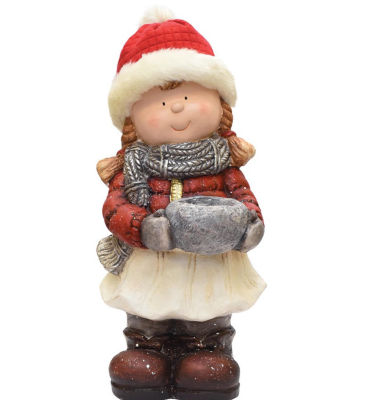 """17"""" Standing Young Girl in Ski Hat with Candle Holder Winter Outdoor Patio Garden Statue"""""""