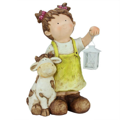 "17.5"" Young Girl Gnome with Cow and Lantern Outdoor Garden Patio Figure"""