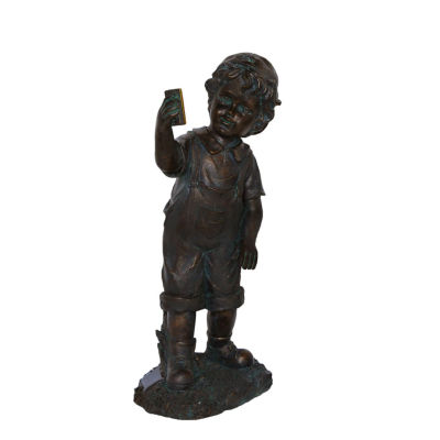 """18"""" Distressed Black & Bronze Boy with Cell PhoneSolar Powered LED Lighted Outdoor Patio Garden Statue"""""""