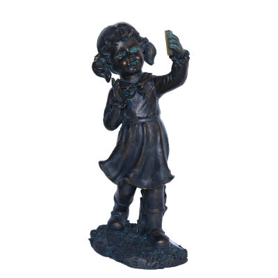 """18"""" Distressed Black & Bronze Girl with Cell PhoneSolar Powered LED Lighted Outdoor Patio Garden Statue"""""""