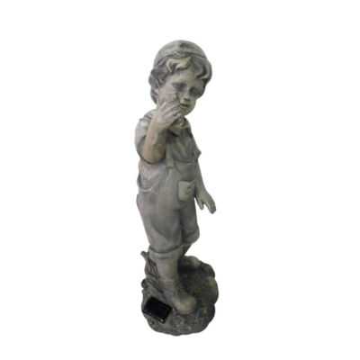 """18"""" Distressed Gray Boy with Cell Phone Solar Powered LED Lighted Outdoor Patio Garden Statue"""""""