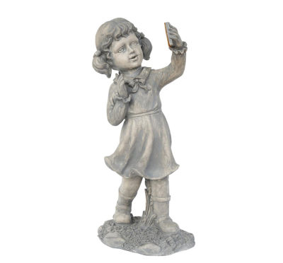 """18"""" Distressed Gray Girl with Cell Phone Solar Powered LED Lighted Outdoor Patio Garden Statue"""""""