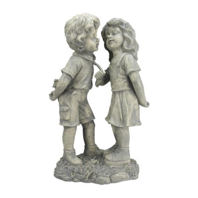 """18.5"""" Weathered Gray Stone Boy & Girl First Kiss Outdoor Patio Garden Statue"""""""