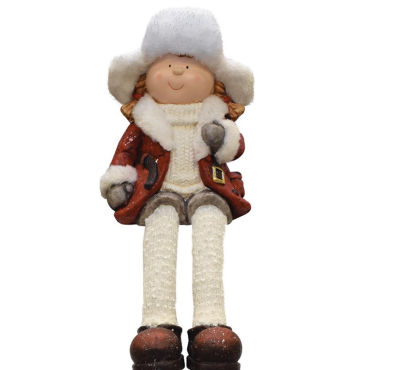 """19"""" Distressed Sitting Young Girl in Faux Fur Trimmed Ski Hat Winter Outdoor Patio Garden Statue"""""""