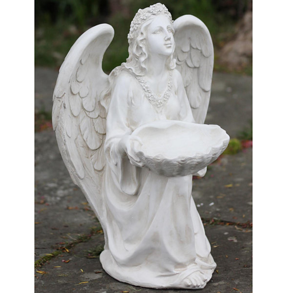 "19.75"" Kneeling Angel Holding Shell Religious Outdoor Garden Statue Bird Feeder"""