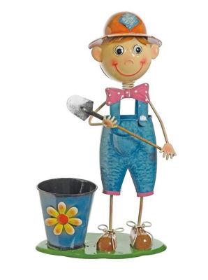"""20"""" Boy With Shovel and Polka Dot Bow Tie Decorative Spring Outdoor Garden Planter"""""""