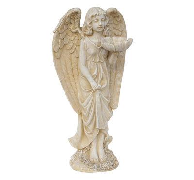 """20"""" Heavenly Gardens Distressed Ivory Cherub AngelBird Feeder Outdoor Patio Garden Statue"""""""