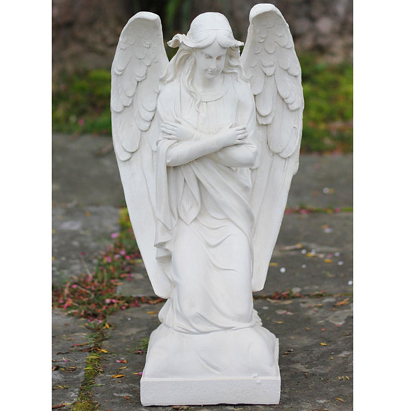 "20.25"" Decorative Ivory Kneeling Angel Religious Outdoor Garden Statue"""