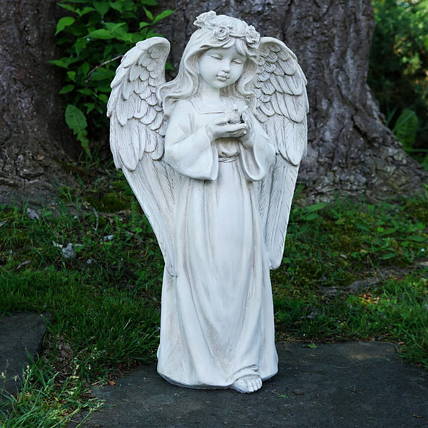 "20.5"" Standing Girl Angel Holding a Bird Outdoor Garden Statue"""
