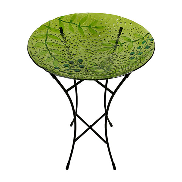 "21"" Hand Painted Glass Green Leaves and Berries Spring Outdoor Garden Bird Bath"""
