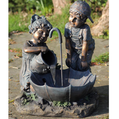 "23.5"" Children with Umbrella Outdoor Patio GardenWater Fountain"""
