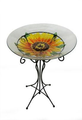 """23.5"""" Hand Painted Glass Yellow Sunflower Spring Outdoor Garden Bird Bath"""