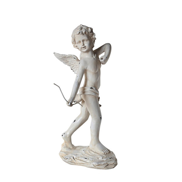 "24"" Distressed Ivory Cherub Angel with Bow OutdoorPatio Garden Statue"""