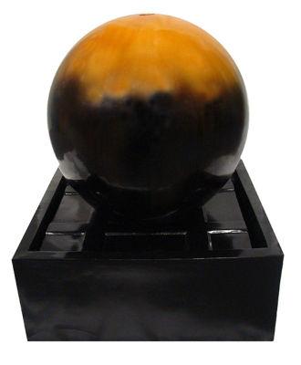 """24"""" Golden Amber Ball Outdoor Garden Water Fountain"""""""
