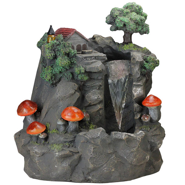 "24.5"" Solar LED Lighted Mushrooms By Waterfall Outdoor Patio Garden Water Fountain"""