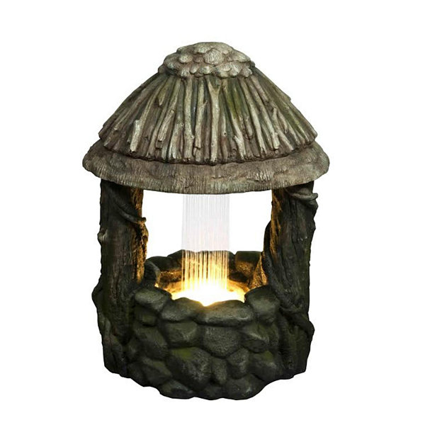 "25.5"" LED Lighted Nature's Wishing Well Spring Outdoor Garden Water Fountain"""