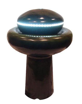 "26"" Lighted LED Green Mushroom Outdoor Garden Water Fountain"""