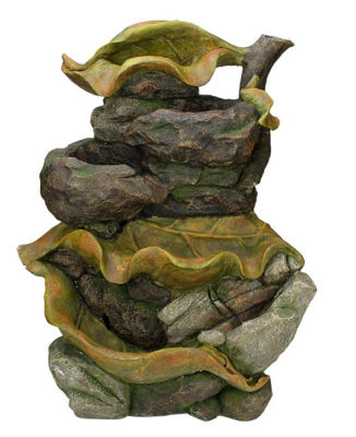 "26.5"" Brown  Orange and Green Mossy Leaves 5-TierOutdoor Patio Garden Water Fountain"""