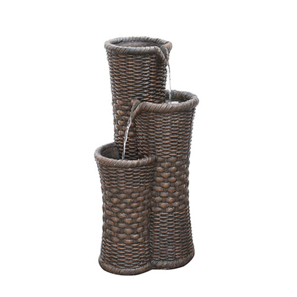 "27.25"" Brown Woven Wicker Inspired Three Tier Outdoor Patio Garden Water Fountain"""