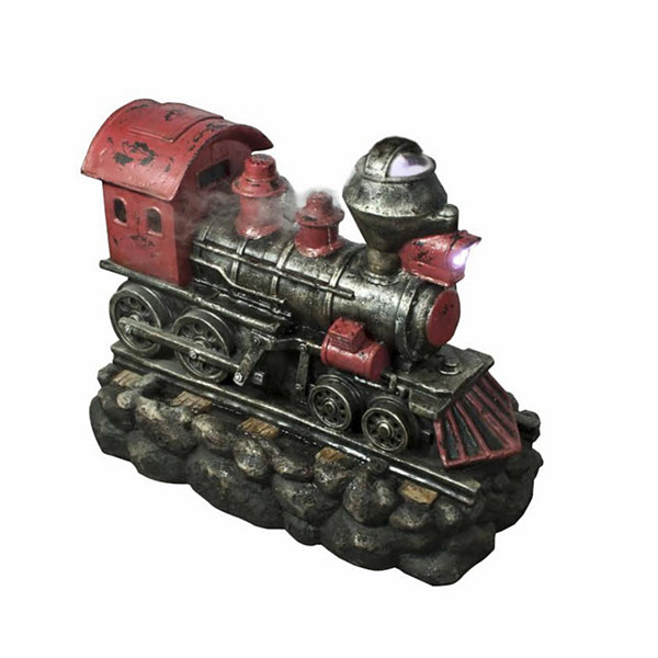 "27.5"" LED Lighted Red and Black Vintage LocomotiveTrain Spring Outdoor Garden Water Fountain"""