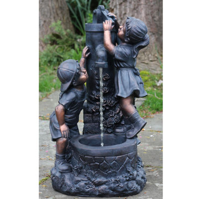 "29"" Children at the Water Pump Well Outdoor PatioGarden Water Fountain"""