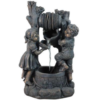 "30"" Children at the Well Outdoor Patio Garden Water Fountain"""