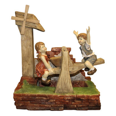"""38"""" Kids Playing on See Saw Spring Outdoor Garden Water Fountain"""