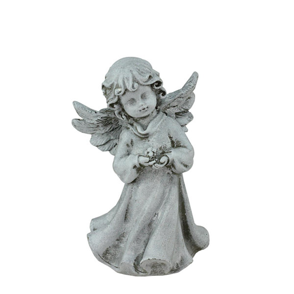 "6.5"" Heavenly Gardens Distressed Gray Cherub AngelGirl with Flower Outdoor Patio Garden Statue"""