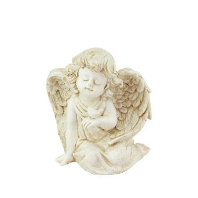 """6.5"""" Heavenly Gardens Distressed Ivory Sitting Cherub Angel with Bird Outdoor Patio Garden Statue"""""""