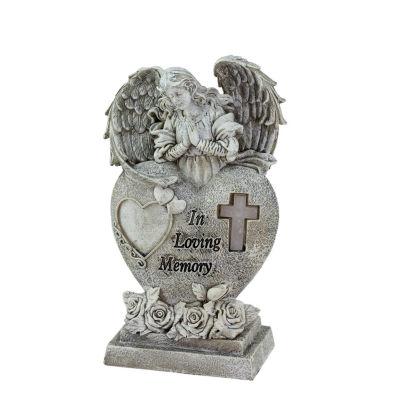 "6.5"" Religious ""In Loving Memory"" Praying Bereavement Angel Solar Powered Outdoor Garden Statue"""