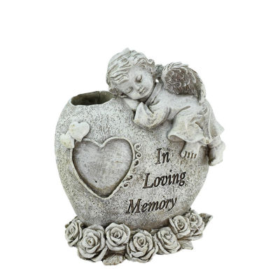 "6.5"" Religious ""In Loving Memory"" Sleeping Bereavement Angel Outdoor Garden Statue Bud Vase"""