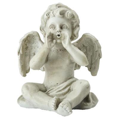 """6.5"""" Sitting Decorative Cherub Angel Outdoor Garden Statue"""