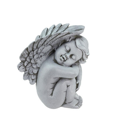 "7"" Heavenly Gardens Gray Right Facing Sleeping Cherub Angel Outdoor Patio Garden Statue"""