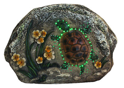 """7"""" LED Lighted Solar Powered Turtle and Flowers Outdoor Garden Stone"""""""