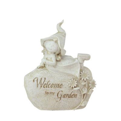 """8.75"""" Garden Kids Ivory """"Welcome To My Garden"""" Girl on Rock Outdoor Patio Garden Statue"""""""