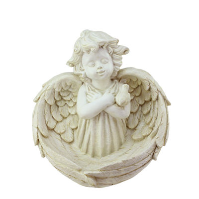 "9.5"" Heavenly Gardens Distressed Ivory Cherub Angel Bird Feeder Outdoor Patio Garden Statue"